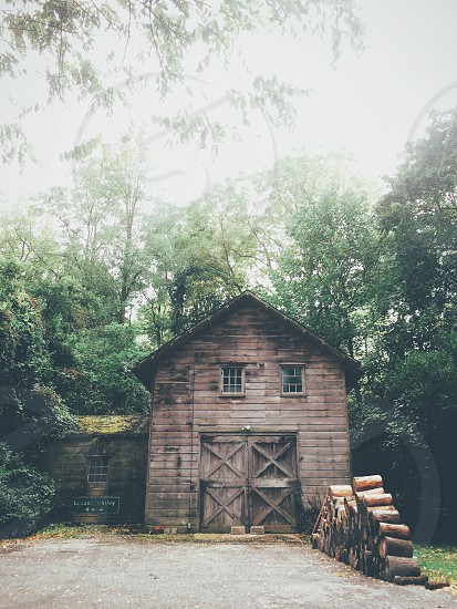 Wood mill barn in the woods photo