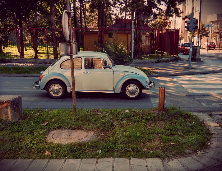 Old car beetle retro street  photo