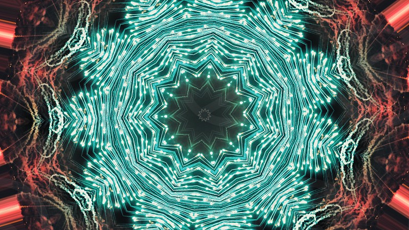 Fractal Noise and Kaleidoscopic. Pattern made with a Particle System. mirror prism creating toy effect with shimmering lights and fast changing mandala shapes. photo