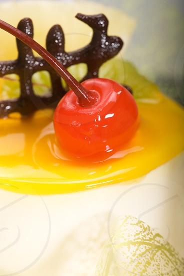 piece of fresh fruit cake close up photo