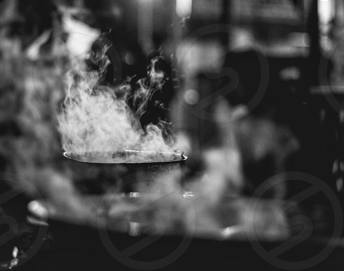 Fire smoke monochrome black and white photo