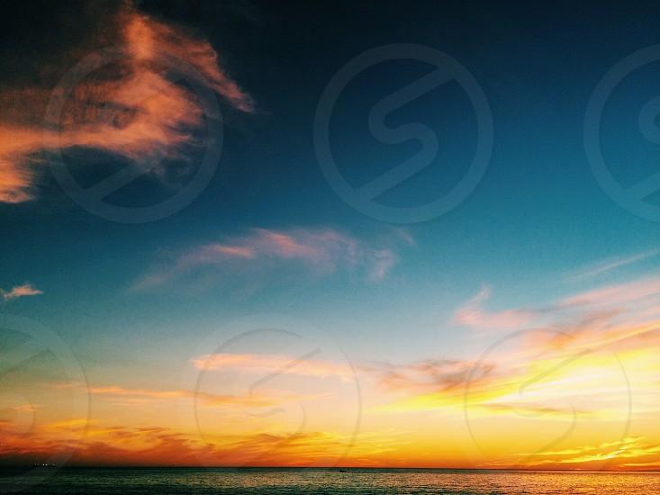 orange and blue sky photo