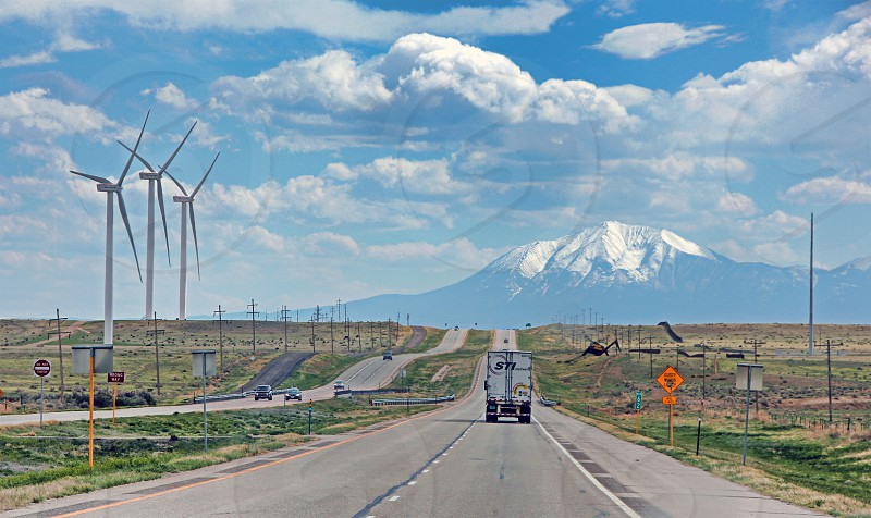 South on I-25 toward Colorado's Spanish Peaks in the distance. photo