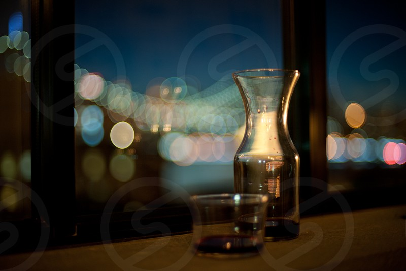 Wine glass and carafe photo