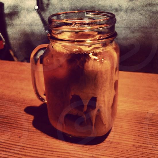 San Francisco Coffee Mug Glass Wood Table Fresh Brewed  photo