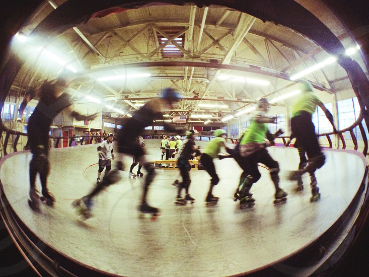 Banked track roller derby fisheye photo