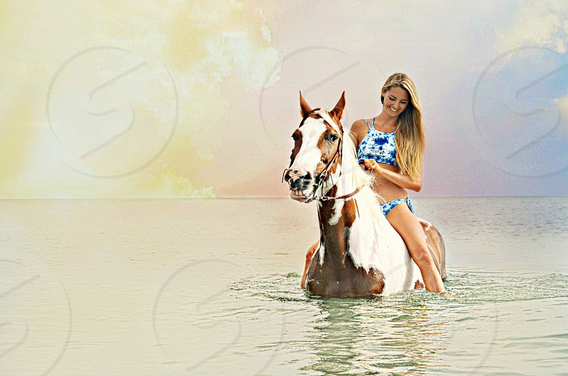 A girl and her horse  horse horse Back Riding beach south Florida Florida girl Florida local Florida beach resort  vacation  photo