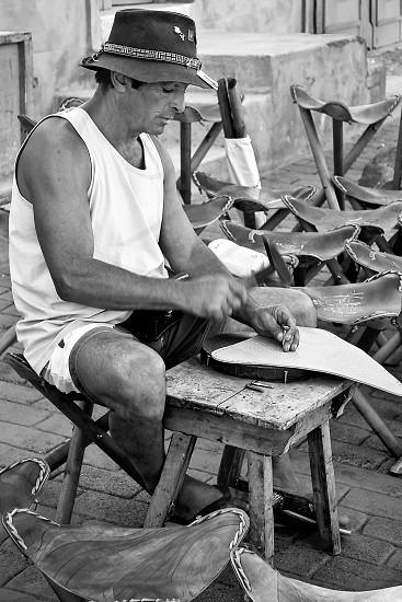 Man Making Stools in Lanzarote photo