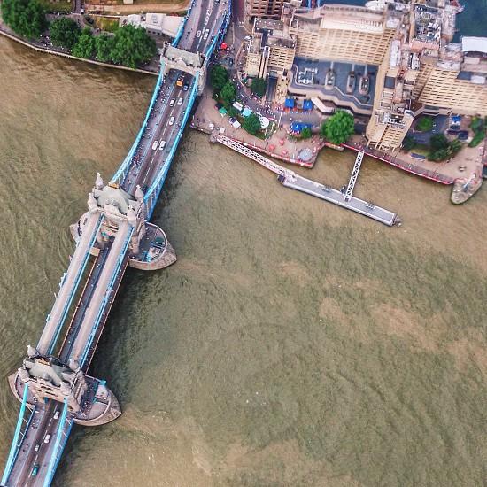 blue full suspension bridge photo