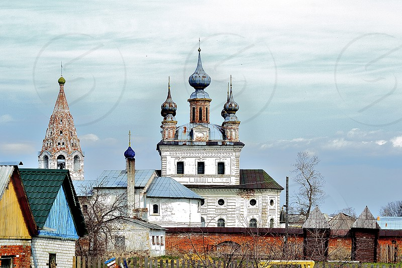 cathedral church ancient Russia Russian town outdoor religion sky nature birds travel wall stone retro landscape photo