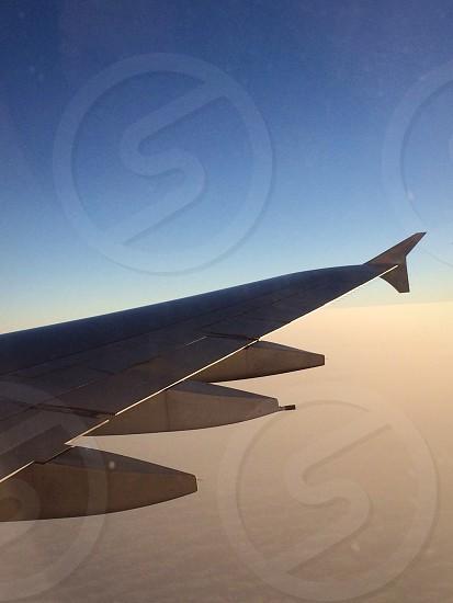 Wing of A380 aircraft. Airplane aeroplane photo