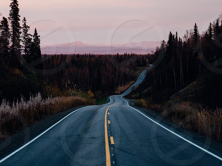 Alaska road highway sunset  photo