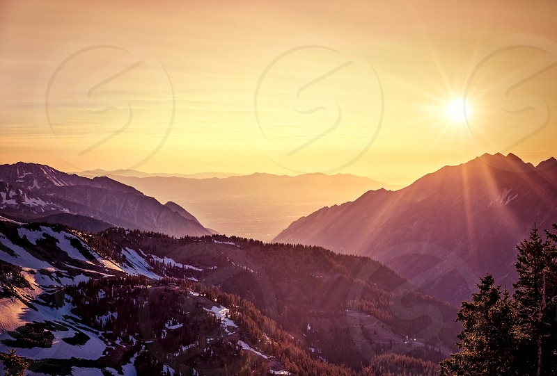Summer sunset in the Mountains at Snowbird Ski and Summer Resort Little Cottonwood Canyon Utah. photo