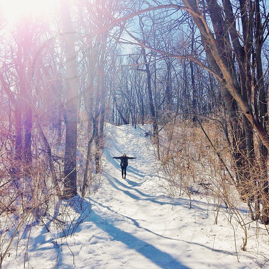 ||Snowy Hike|| This was taken at Swallow Cliff Woods 25 miles outside of Chicago. A great getaway from urban living.   photo