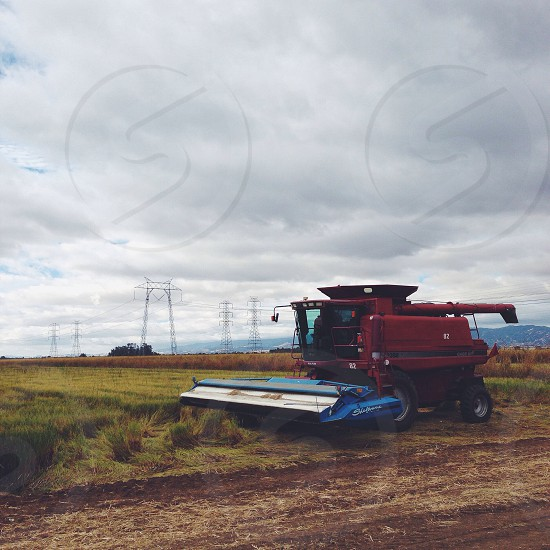combine tractor red photo