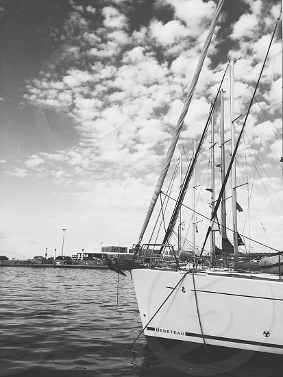 Sailboat black and white photo