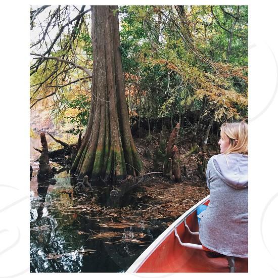 Canoe adventure exploring pond cabin life cypress fall autumn Louisiana bayou swamp photo