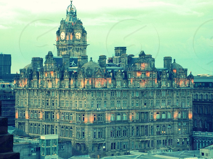 View of a hotel at dusk in Scotland photo