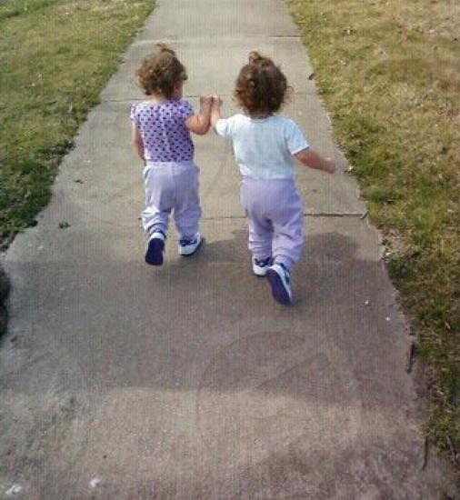 Twins girls cute sisters best friends love  photo