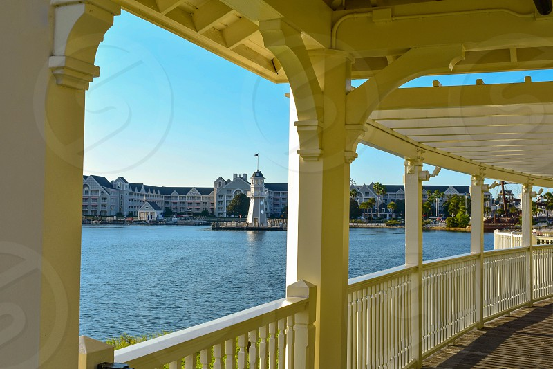 Orlando Florida. February 09 2019 . Beautiful view from lovely Victorian ride on dockside at Lake Buena Vista area. photo