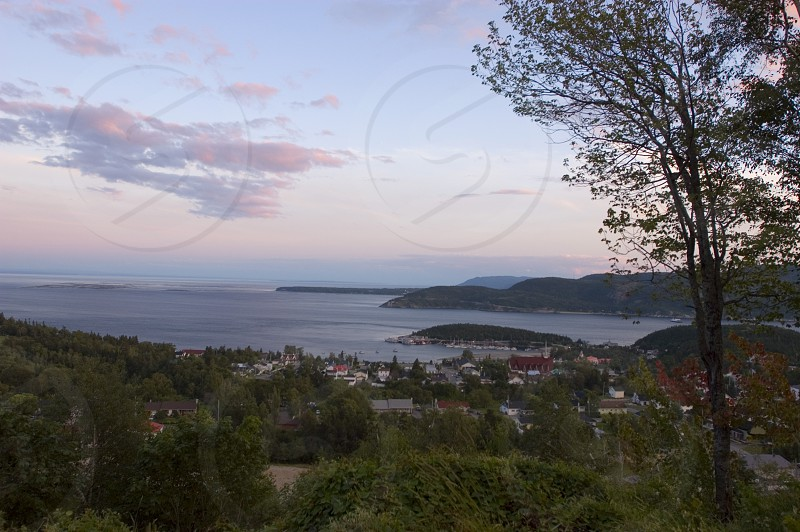 View from above Tadusac where the Saguenay flows into the St. Lawrence Sea Way photo