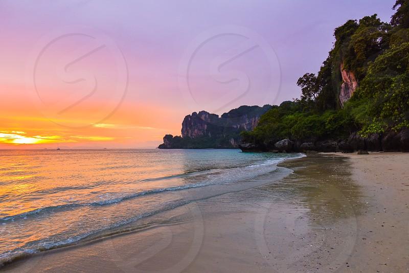 sunset beach travel vacation thailand  photo