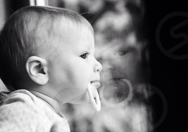 grayscale of baby photo