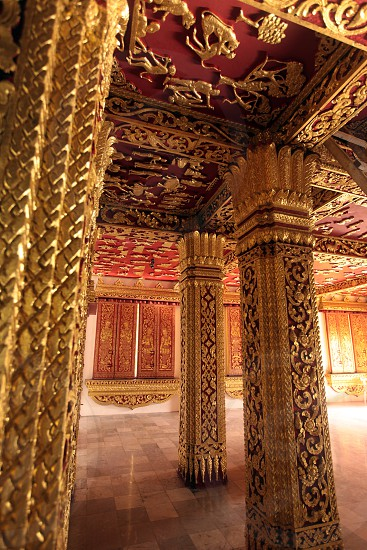 the king palace in the old town of Luang Prabang in the north of Lao in Souteastasia. photo