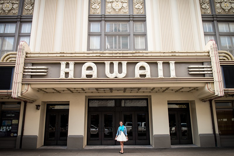Teenage girl hanging out in downtown Honolulu. photo