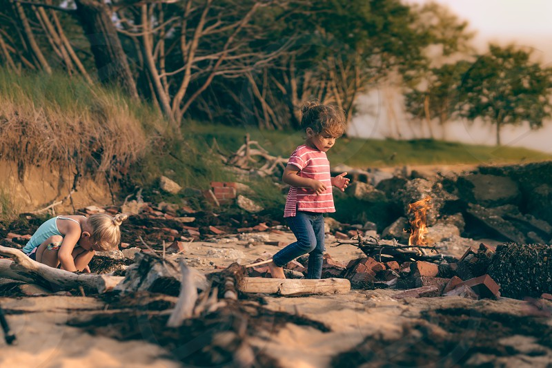 Beach fire toddlers  photo
