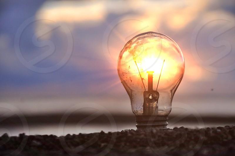 clear light bulb turned on photo
