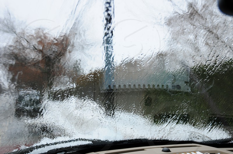 View through windshield on a cold rainy work day.  photo