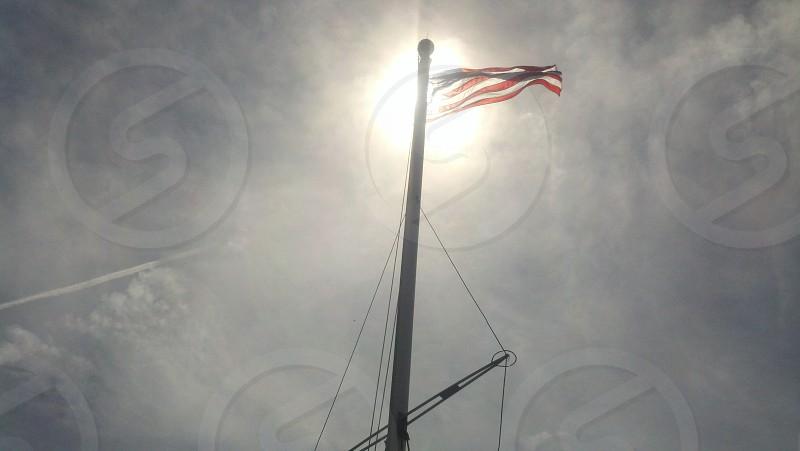 U.S. flag North Light Block Island RI photo
