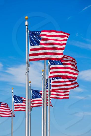 Washington Monument flags circle in DC United States USA photo