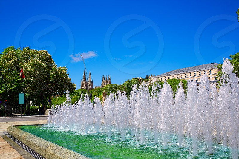 Burgos San Pablo bridge from fountain and Cathedral over Arlanzon river in Castilla Spain photo