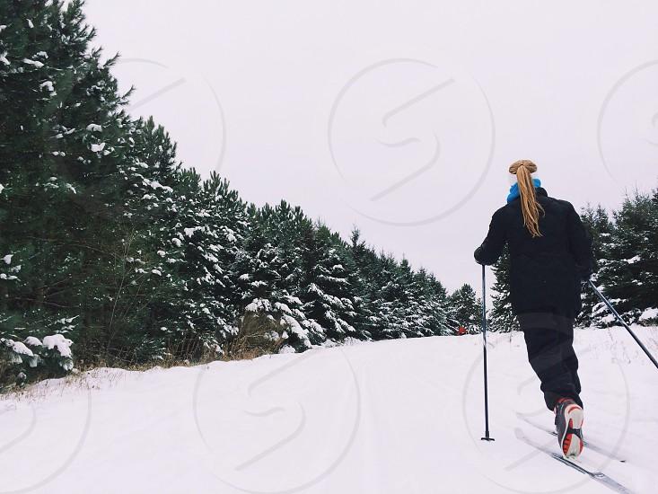ladies black ski jacket photo
