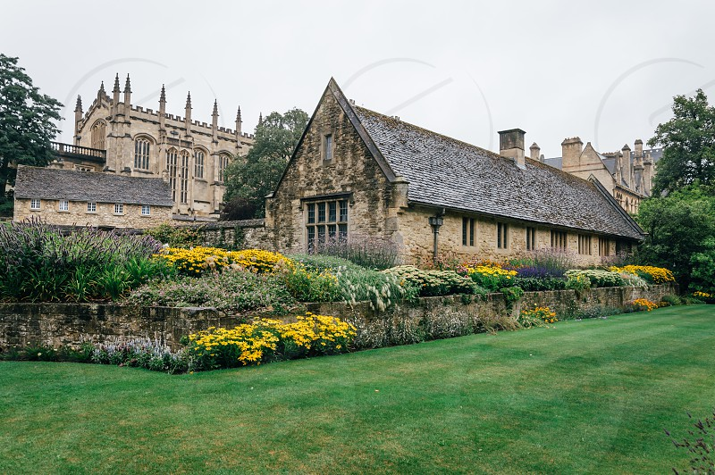 View of the courtyard of Christ Church College in Oxford a rainy day. The city is known as the home of the University of Oxford the oldest university in the English speaking world. photo