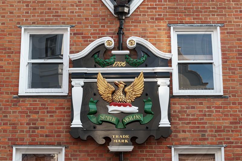 TUNBRIDGE WELLS KENT/UK - JANUARY 4 : Trade Mark Sign of the Phoenix Assurance company in the Pantiles in Royal Tunbridge Wells Kent on January 4 2019 photo