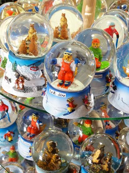 Ski resort snow globes photo