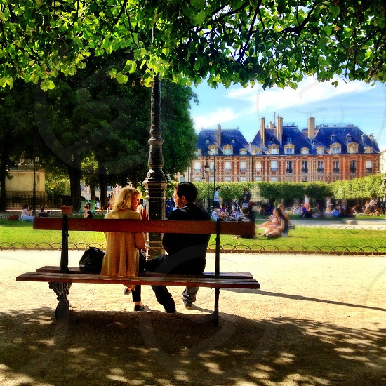 I like to seat on a bench of a park or garden and spend time with my friends... photo