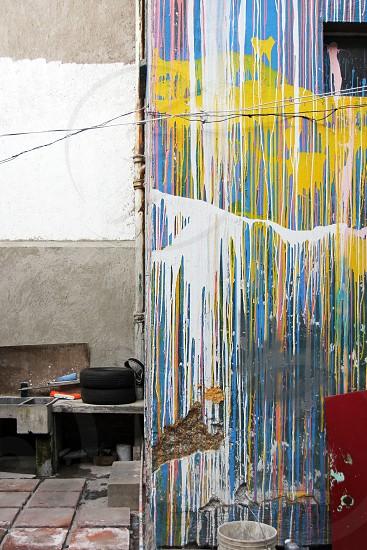 dripping paint drippy paint splatter studio art studio artist space warehouse renovation photo