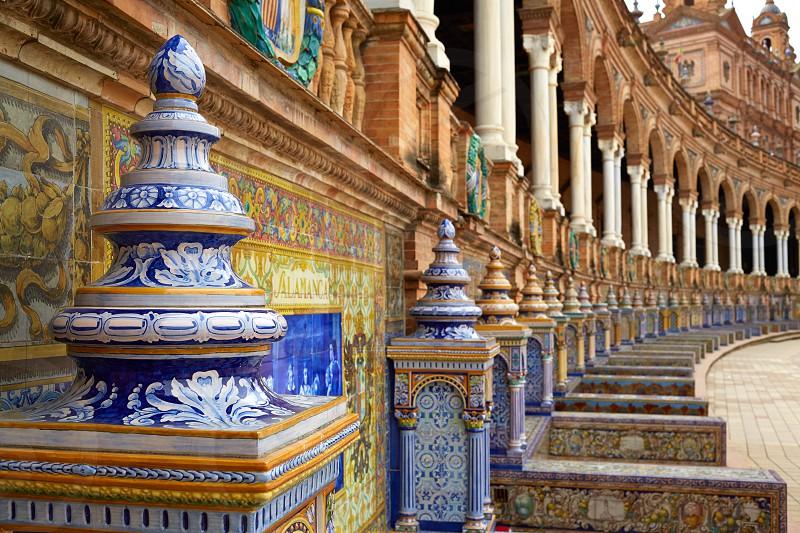 Seville Sevilla Plaza de Espana provincial bench Andalusia Spain square photo