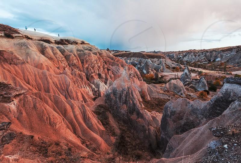 Natural gorge landscape scene in Cappadocia Turkey photo