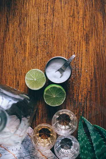 lime ahlves with salt and glasses photo