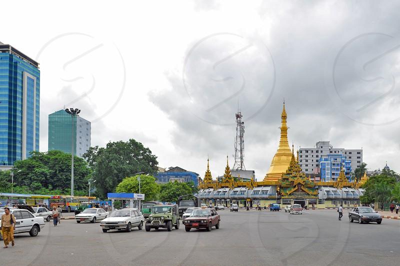 The Sule Pagoda a Burmese stupa located in the heart of downtown Yangon Myanmar photo