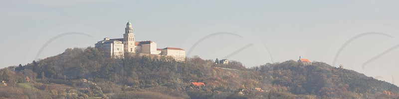 Benedictine Pannonhalma Archabbey in Hungary on an Autumn Day Panorama photo