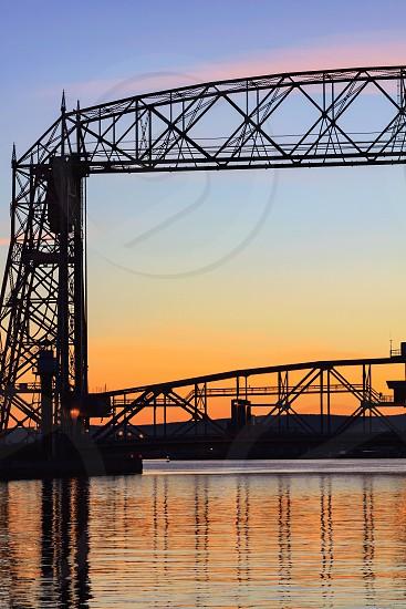 Duluth Minnesota Lake Superior north shore aerial lift bridge bridge sunset orange landscape view scenery environment tranquility peaceful quiet calmcolorfulvibrant beautiful majestic photo