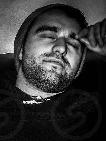 Beard tired sleepy Male man facial hair Resting  photo