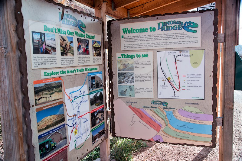 Interpretive kiosk with maps and geology diagrams. photo