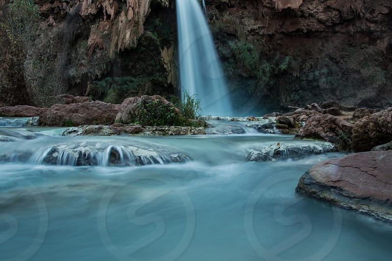 Slow shutter blue waterfall. Havasupai Falls. photo